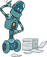Robot character with a pile of papers